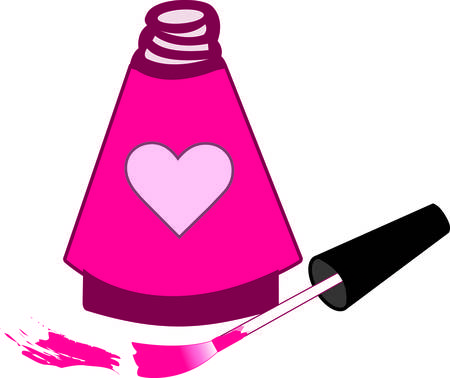 nail polish bottle: Special nail polish for the special princess in a heart decorated bottle.  Just as polish pretties the nails this design can pretty your apparel or bag project. Illustration