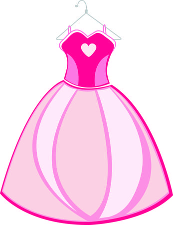 A princess just has to have an elegant pink gown.  This beautiful dress turns any girl into a beautiful princess.  Use it for decorating a bed pillow or princess apparel