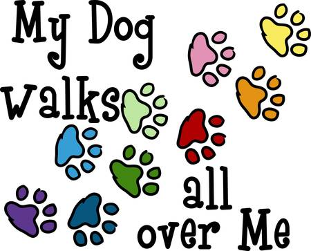 mutt: Send your friends these cute paw prints My dog walks all over me.  Its sure to bring a smile