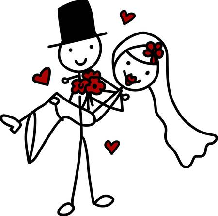 Two people in a happy romantic relationship especially two people who have just married pick those designs by concord Vectores