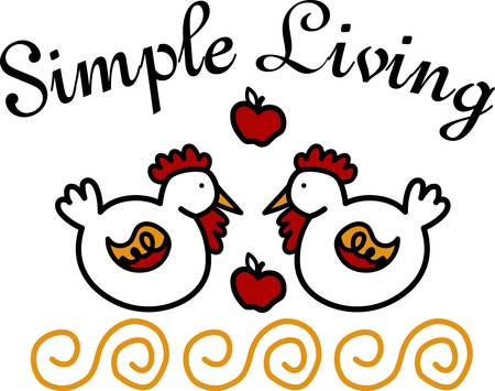 usual: Try something different than the usual poultry this fall designs with this design of hens and apples by Concord Illustration