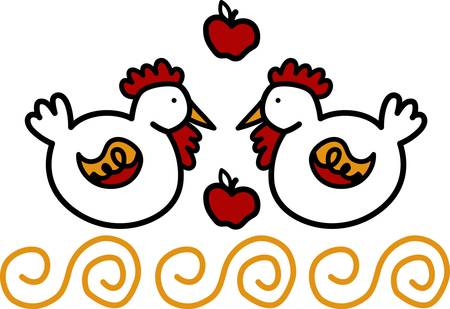 Try something different than the usual poultry this fall designs with this design of hens and apples by Concord Ilustrace