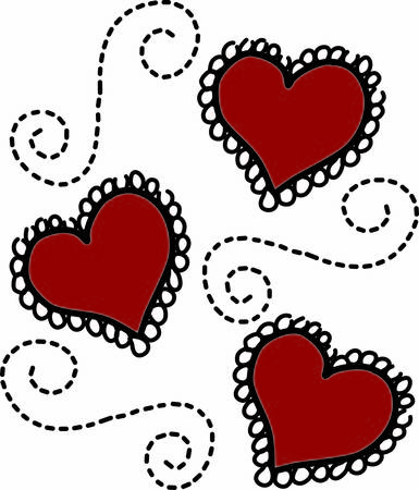 lacey: This swirly lacey motif of hearts is just what you are looking for in wedding engagement or Valentine celebrations.  So very pretty on shirts of all kinds