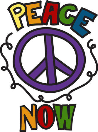 peace movement: Add trendy and stylish appeal with this peace sign design.  Perfect way to add colorful appeal to your projects. Illustration