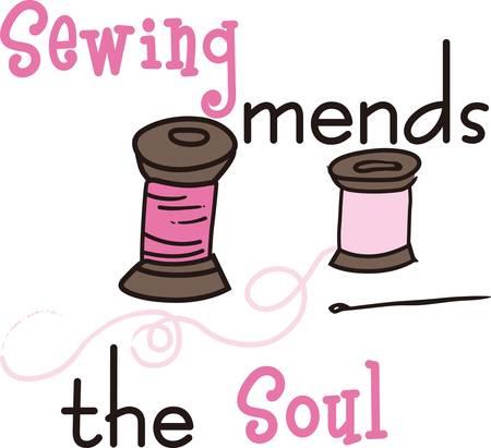 コンコードのデザインで縫製のスプールを使用してあなたのデザイナー布をステッチします。  イラスト・ベクター素材