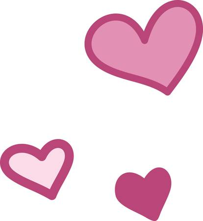 the right choice: Three pink hearts form a lovely design.  Various shades of pink are always the right choice for expressions of affection Illustration