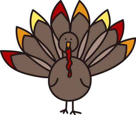 gobble: This sweet turkey is ready to add to your Thanksgiving creativity.  This simple and colorful bird is a great symbol of the holiday Illustration