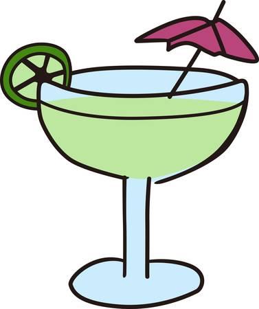 sip: Disfrute de la refrescante bebida en la playa de relax bajo un paraguas recoger esos dise�os de la concordia Vectores