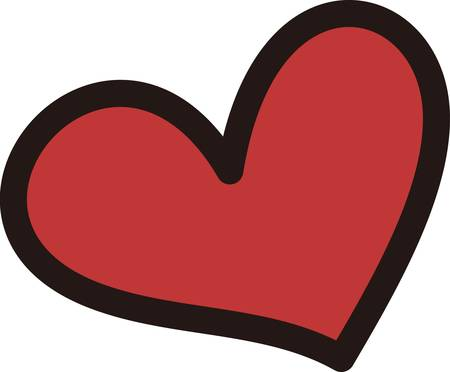 A simple red heart says more than words can express.  A bold outline seems to lift the heart off the media 向量圖像