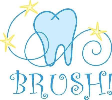 hygienist: A whimsical tooth design complete with swirls and stars is perfect for the dental professional Illustration