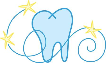 A whimsical tooth design complete with swirls and stars is perfect for the dental professional Illustration