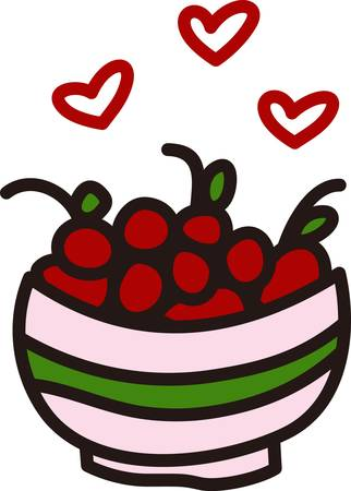 designate: A big bowl of cherries creates a fruity delight.  Hearts designate our love for this brightly colored fruit.