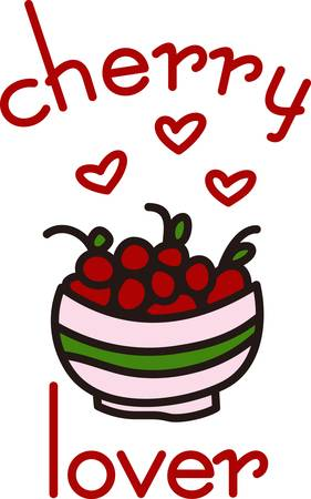 A big bowl of cherries creates a fruity delight.  Hearts designate our love for this brightly colored fruit.