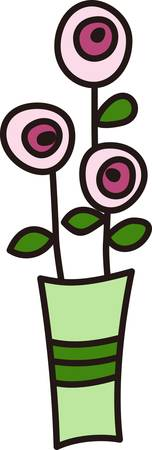appeal: A whimsical bouquet decorates this simple vase.  This child like drawing brings a unique appeal to your projects. Illustration