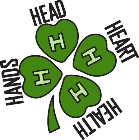 health club: Four H is a long revered club for youth to learn life skills.  Head to clearer thinking. Heart to greater loyalty. Hands to larger service. Health to better living  Decorate for your 4H club