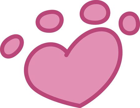 Love all animals and support adoption of homeless animals is the message behind this cute paw print.  A sweet design with an important message. Illusztráció