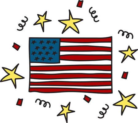 Questa bandiera è uno dei preferiti patriottica. Stelle filanti e coriandoli rendono petardo perfetto Archivio Fotografico - 40710497