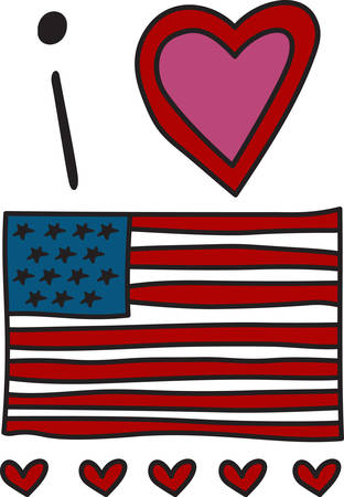 streamers: This flag is a patriotic favorite.  Stars streamers and confetti make it firecracker perfect Illustration