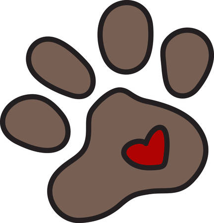 pawprint: Puppy paws spread love wherever they trot as shown with this tiny heart.  Decorate for your loving pet with this sweet design. Illustration