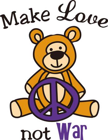 nonviolence: Peace symbol and a teddy come together in this charming design.  The smiling teddy sends a message of nonviolence.
