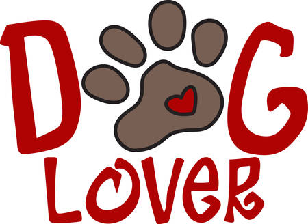 mutt: Puppy paws spread love wherever they trot as shown with this tiny heart.  Decorate for your loving pet with this sweet design. Illustration