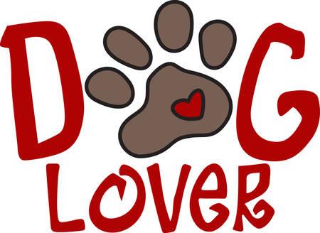 mutt: Zampe Puppy diffondere l'amore dovunque trotto come mostrato con questo piccolo cuore. Decora per il vostro animale domestico amorevole con questo disegno dolce.