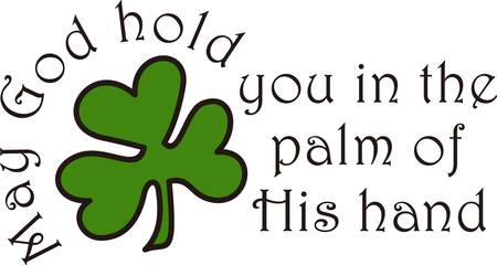 adds: The luck of the Irish come through in this clover design. This Irish blessing adds a lovely sentiment.