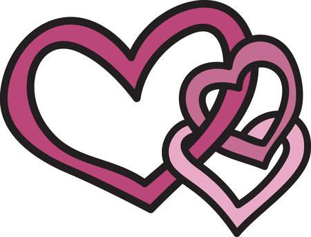 Express uw liefde zonder een woord te zeggen Drie gekoppelde harten maken van een ontwerp vol liefde Stock Illustratie