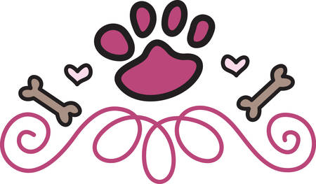 doggie: Paws hearts and bones come together to create a perfect design for our canine buddies.  Try it on a bandana collar or doggie shirt Illustration