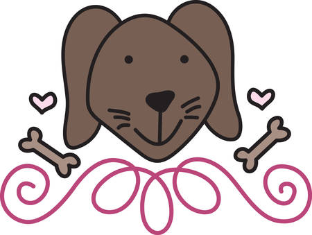 chew: A lovable dog is a best friend.  Decorate for dog parents with this sweet little pooch.  Love the swirl lower frame