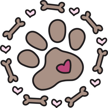 pawprint: This doggie embellishment is not just  paw but a frame of bones and hearts.  Perfect design for dog lovers everywhere.