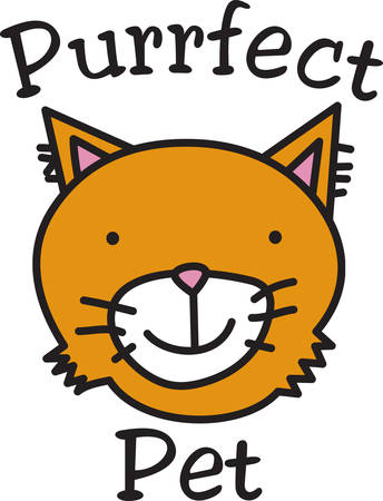 This is an purrrfect design for the cat lovers  Decorate apparel linens and bags with this fun kitty.
