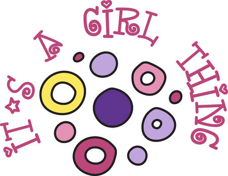 Circles make a casual and fun decoration for that special girl.  Bright colors and hand drawn qualities add extra appeal to this design.