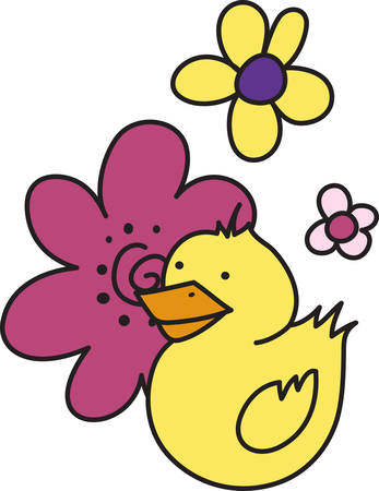 A sweet little duck in a perfect bouquet is a perfect decoration for bath and swim gear.  Great for babies too