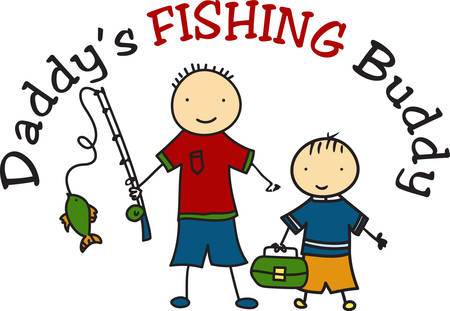 Two little fisherman have a proud catch.  What cuties to decorate your little one s fishing gear.