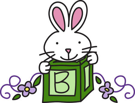gear box: A bunny in a box creates a sweet decoration for your baby gear.  We love the swirly vine flowers creating a bottom edge.