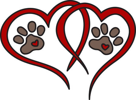 pooch: Dog leave pawprints forever on your heart.  What a perfect design for dog lovers everywhere Illustration