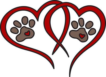 Hond verlaat pawprints altijd op uw hart. Wat een perfect ontwerp voor hondenliefhebbers overal Stock Illustratie