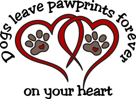Dog leave pawprints forever on your heart.  What a perfect design for dog lovers everywhere Иллюстрация