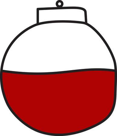 alertas: Este flotador rojo y blanco alerta al pescador cuando un pez est� en la l�nea. �Qu� gran manera de decorar para un pescador.