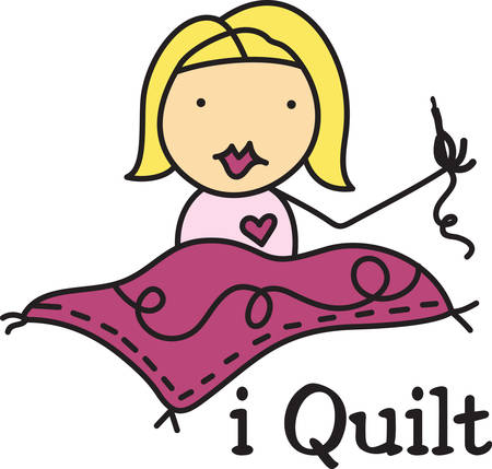 fun at work: This cute little quilter takes her craft quite seriously  Her beautiful work creates a fun design for the quilter.