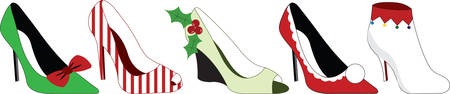 Stilettos dressed up for the holiday season.  What a wonderful way to dance the night away Ilustração