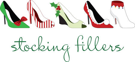 stilettos: Stilettos dressed up for the holiday season.  What a wonderful way to dance the night away Illustration