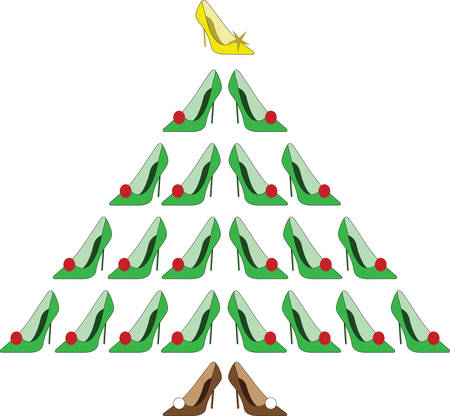 Stilettos dressed up for the holiday season.  What a wonderful Christmas tree for the shoe lover Ilustração