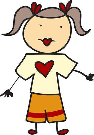 participate: Fun stick people are a perfect decoration and allow endless options.  This little girl is no exception and stands ready to participate in your projects. Illustration