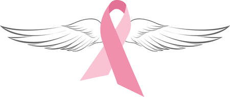 Support the fighter remember the victim with this pink breast cancer ribbon.  This ribbon is a unique find with elegant angel wings.