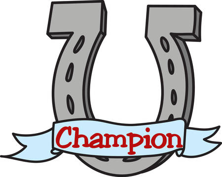 This horseshoe is bringing luck and sending a special message.  Lucky on the banner says it all Illustration