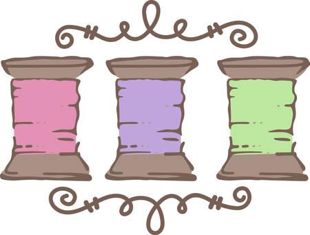 Bobines de fil sont une frontière artistique. Quel design inspiré pour votre boîte à couture Banque d'images - 40752568