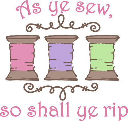 Spools of thread are an artistic border.  What an inspired design for your sewing box