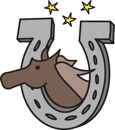 This horseshoe is holding luck and a special equine friend.  Sure to e a hit on your equine gear.